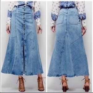 Free People Penelope Denim Maxi Skirt